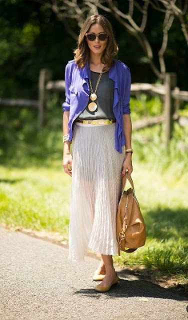 olivia palermo in a pleated skirt